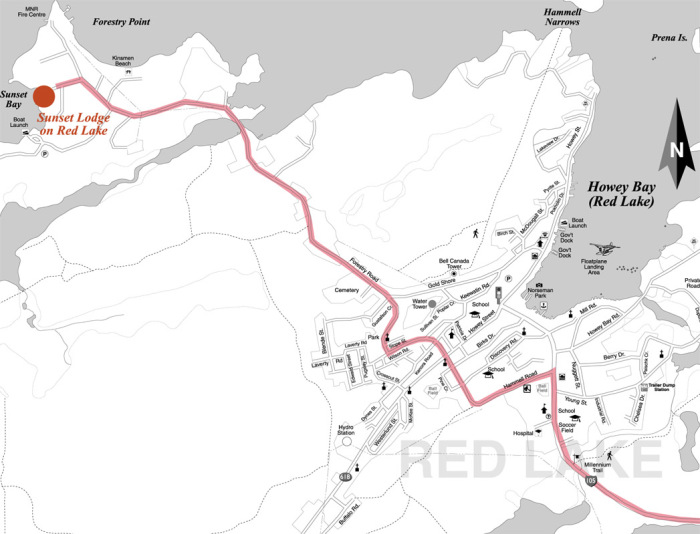 Route map to Sunset Lodge on Red Lake